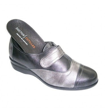 Zapato mujer para plantillas combinado en negro y plomo Doctor Cutillas en gris