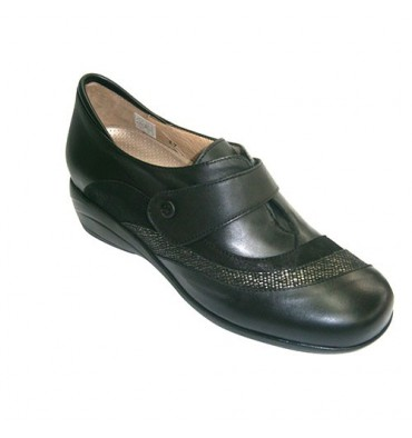 Zapato mujer para plantillas ortopédicas con velcro con dos tiras de ante y serpiente Pie Santo en negro
