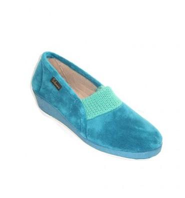 Zapatilla mujer cerrada de terciopelo con elástico de punto en el empeine Salemera en azul