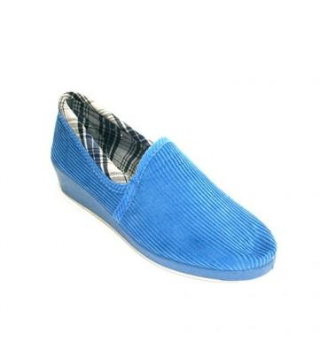 Zapatilla mujer de pana de algodón con vuelta de cuadros Salemera en azul