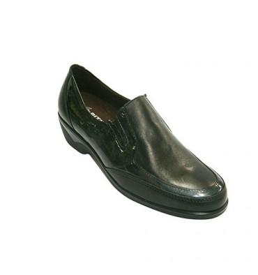 Sapato de couro mulher combinados e patentes Pitillos em Preto