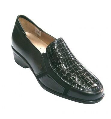 Zapato mujer para plantillas combinado piel y cocodrilo Pie Santo en negro