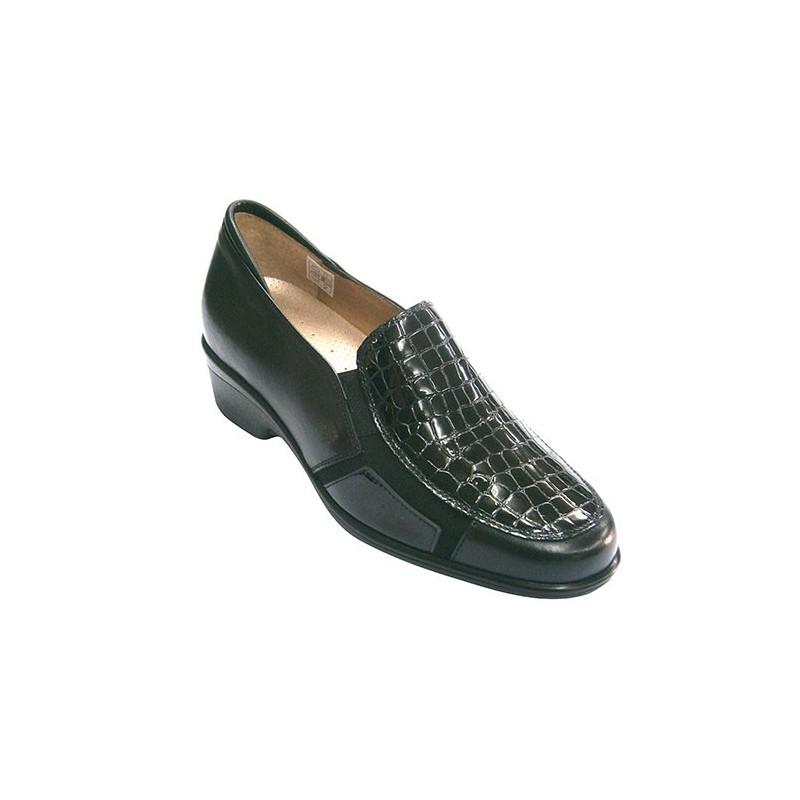 Y Pie Combinado Zapato Plantillas En Negro Para Santo Cocodrilo Mujer Piel nT040Xx