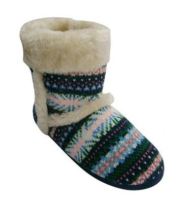 Zapatilla mujer tipo bota de punto con adornos de pelo en la caña Gioseppo en multicolor