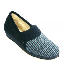 Houndstooth shoe woman with pure virgin wool lining Soca in blue