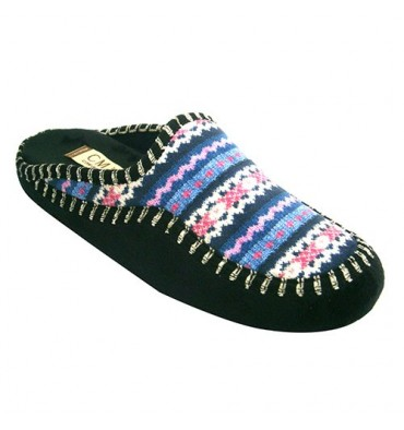 Flip flops women be home with Nordic drawings Calzamur in navy blue