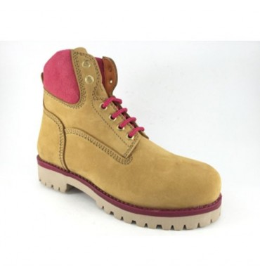 Timberland boot type woman in pink detail Calzados España in Camel