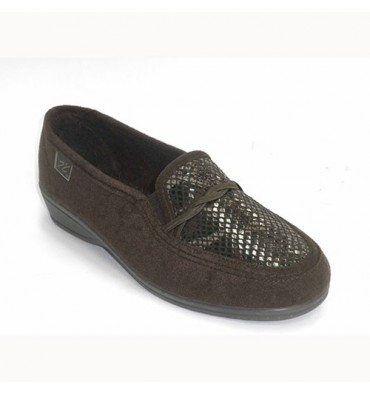 Slipper with lycra pretending snakeskin Doctor Cutillas in brown
