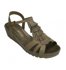 Strappy sandal woman with fringe trim Pomares Vazquez in beig