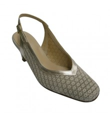 Open back shoe woman shoe flange simulates draft champagne Pomares Vazquez in beig