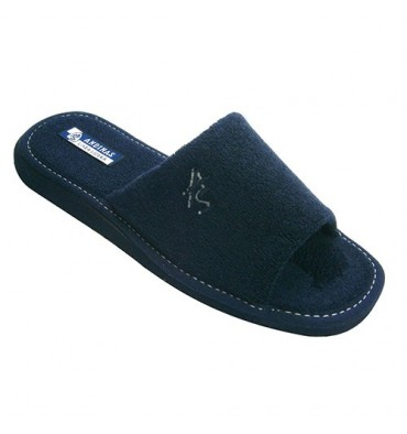 Open toe slippers gentleman towel Andinas in navy blue