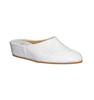 Leather Wedge Sandals home Trigono in white