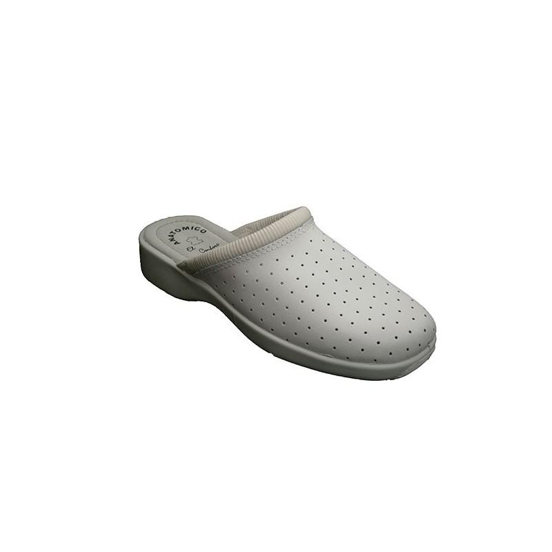 Comprar zueco trabajo piel cruan en blanco online for Zapatos de trabajo blancos