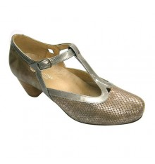 Heeled Woman wide special removable insole buckle clasp Doctor Cutillas in metallic