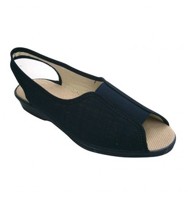 Shoe woman open toe and heel with elastic instep Soca in navy blue