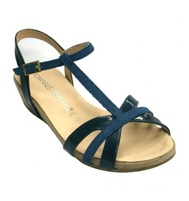 Sandal female patent leather and nubuck straps combined Pomares Vazquez in navy blue