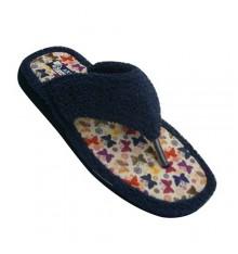 Chancla de toalla mujer de dedo con planta de mariposas Andinas en azul marino