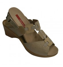 Sandal very comfortable woman in three special tones combined Template Pie Santo in beig