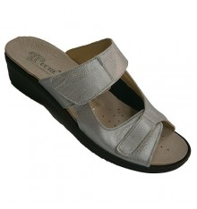 Woman slipper two combined leather and lycra strips Andinas in gray