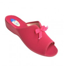 Room to house slipper heel and toe open vamp woman with opening and ornament with ribbon Calzamur in fuchsia
