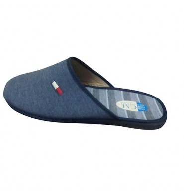 Women flip flops closed toe with embroidery on the side Calzamur in blue