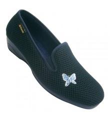 Zapatilla mujer cerrada con gomas a los lados con adorno en un lado Alberola en azul marino