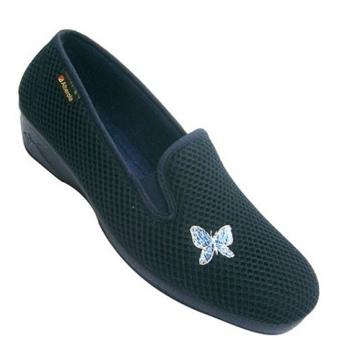 Woman shoe with rubber closed at the sides with ornament on one side Alberola in navy blue