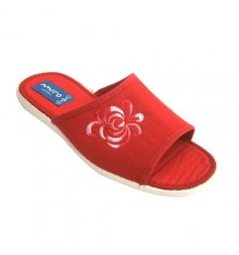 Women flip flops and open toe heel with embroidery on one side Muro in red
