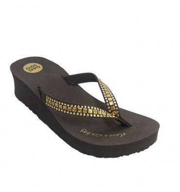 Chancla pool highborn woman with bright trim Gioseppo in brown