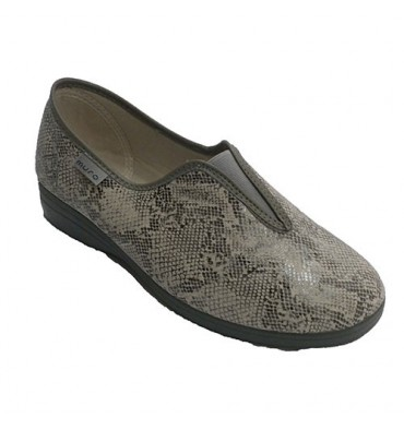 Woman slipper closed with elastic instep drawings snake Muro in gray