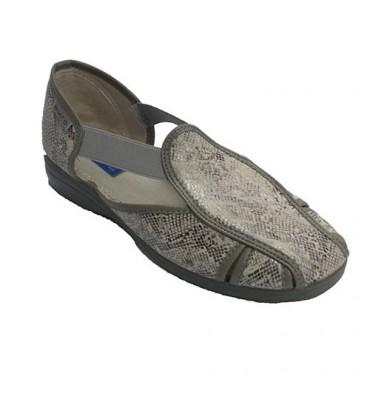 Mulher sapato tipo sandália com grande elástico nas laterais Muro em Cinza