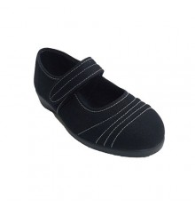 Mary Jane shoe very comfortable kind woman with white stitches Doctor Cutillas in navy blue