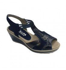 Crocodile print sandals woman Pitillos in navy blue