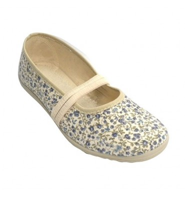Manoletina flat sneaker rubber stamping flowers woman in the instep Soca in beig