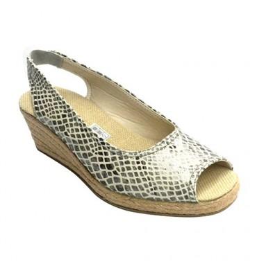 Open woman shoe heel and toe wedge snakeskin print Esparto Salemera in gray