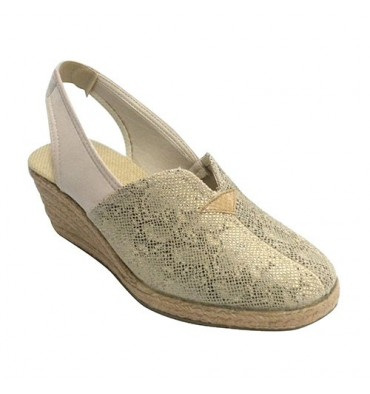 Woman open slipper behind closed toe wedge esparto snake print Salemera in beig