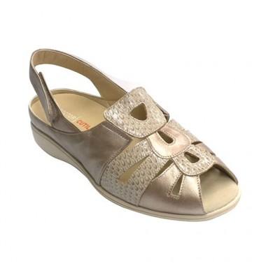 sandálias das mulheres órteses muito confortável Doctor Cutillas em Metálico