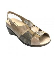 sandálias das mulheres ortopedia elástica sobre o peito do pé Pie Santo em Pele de marta
