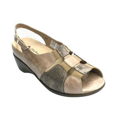 Womens sandals orthotics elastic on the instep Pie Santo in mink