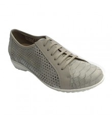 Woman shoe lace openwork on the sides Pie Santo in gray