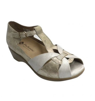 Closed heel sandal woman for orthotics Pie Santo in metallic