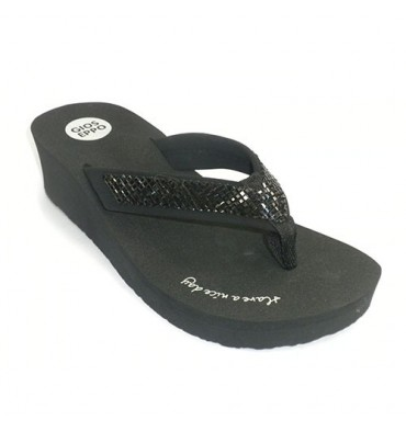 Pisicina beach woman flip-flop wedge finger high strip rhinestones Gioseppo in black