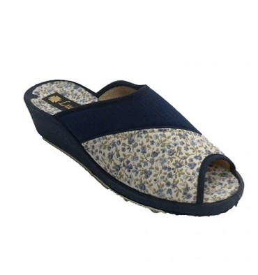 Flip flops around the house florecitas woman Ludiher in navy blue