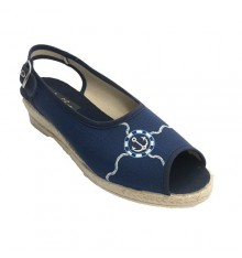 Open slipper woman with strip behind anchor motif shovel Ludiher in navy blue