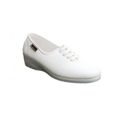 Zapatillas cordones cuña lona lisa Alberola en blanco