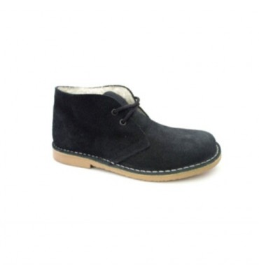 Wide toe boot with shearling safari Danka in black