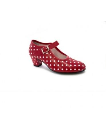 Seville Flamenco dancing shoe white polka dots for girls or women Danka in red