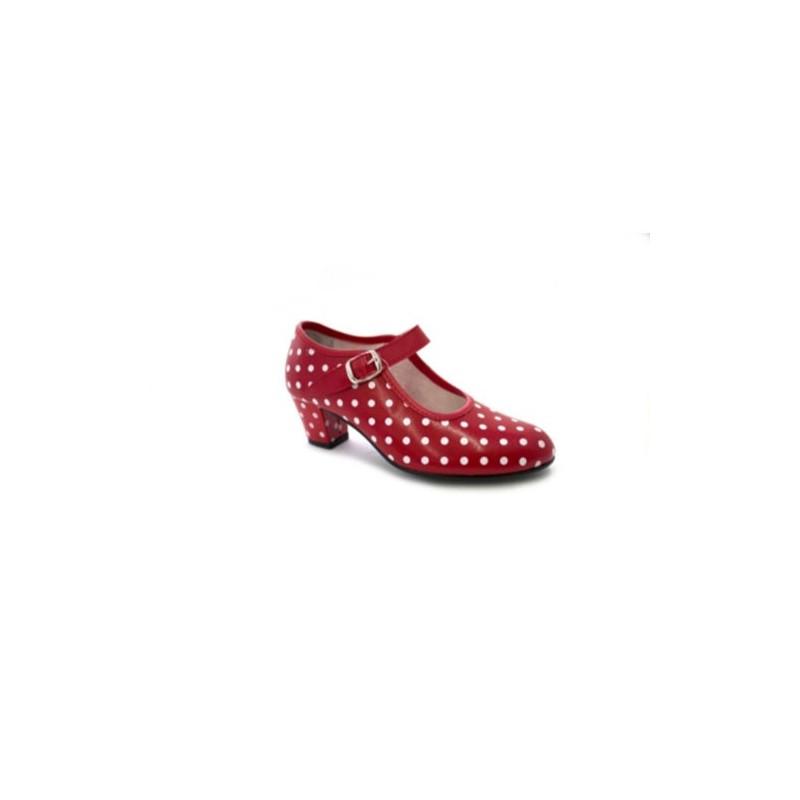 Zapato niña mujer rojo flamenco o blancos en baile Danka para sevillanas lunares r67rUq