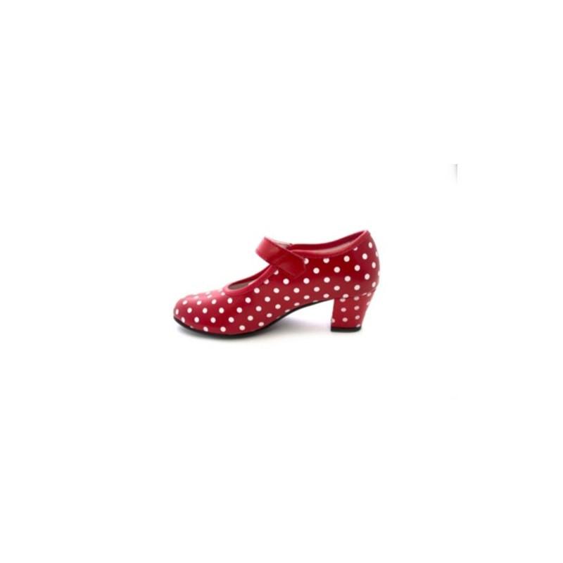 Zapato Baile sevillanas Flamenco Lunares Blancos Para Niña o Mujer Danka EN Rojo T1551 Talla 34 Hjs111Ali
