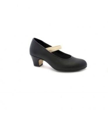 Zapato baile flamenco puntera y tacón de metal sujección con goma Danka en negro